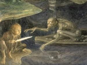 بیلبو و گولوم در حال بازی معما - اثر آلن لی
