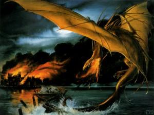 حمله اسماگ به شهر دریاچه اثر John Howe