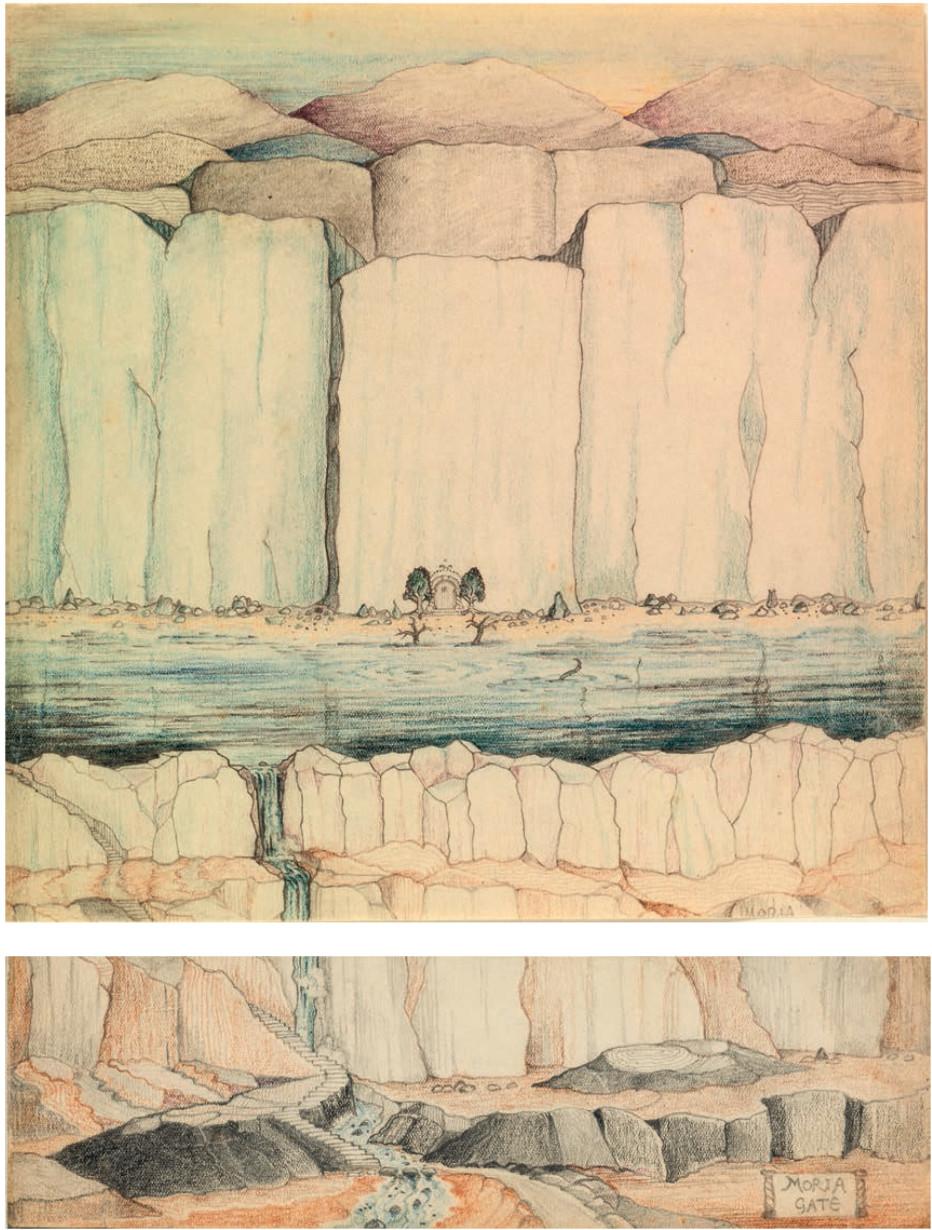 """دروازه غربی موریا، این نقاشی رنگی از درهای دورین، ورودی مخفی معادن موریا، با رمز مشهور """"بگو دوست و وارد شو""""، نشان دهنده مقیاس و بزرگی فضا است. موج کوچک بازوی نگهبان در آب نشان دهنده مشکلاتی است که به وجود خواهد آمد"""