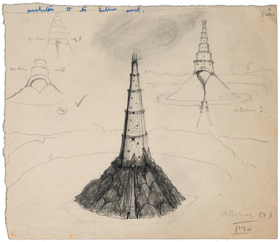 اورتانک، تالکین از این تصاویر برای آزمایش ایدههایش درباره نحوه نمایش بناها، فضاها، جغرافیا و اجزای ساخته شده در سرزمین میانی استفاده میکرد. طرحها راهنمای او برای توصیف اجزا در کلمات بودند. در اینجا طرح سه قسمتی برج سارومان در آیزنگارد مشاهده میشود