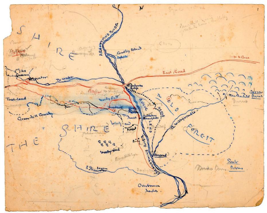 اولین نقشه شایر، این نقشه پیشرفت خلاقانه تالکین را نشان میدهد. نقطه چینهای قرمز و آبی نشان دهنده مسیر فرودو، سم و پی پین است. خطوط محو مداد هم تغییرات نامها و دیگر یادداشتها او درباره سرزمین میانی در حال توسعه است