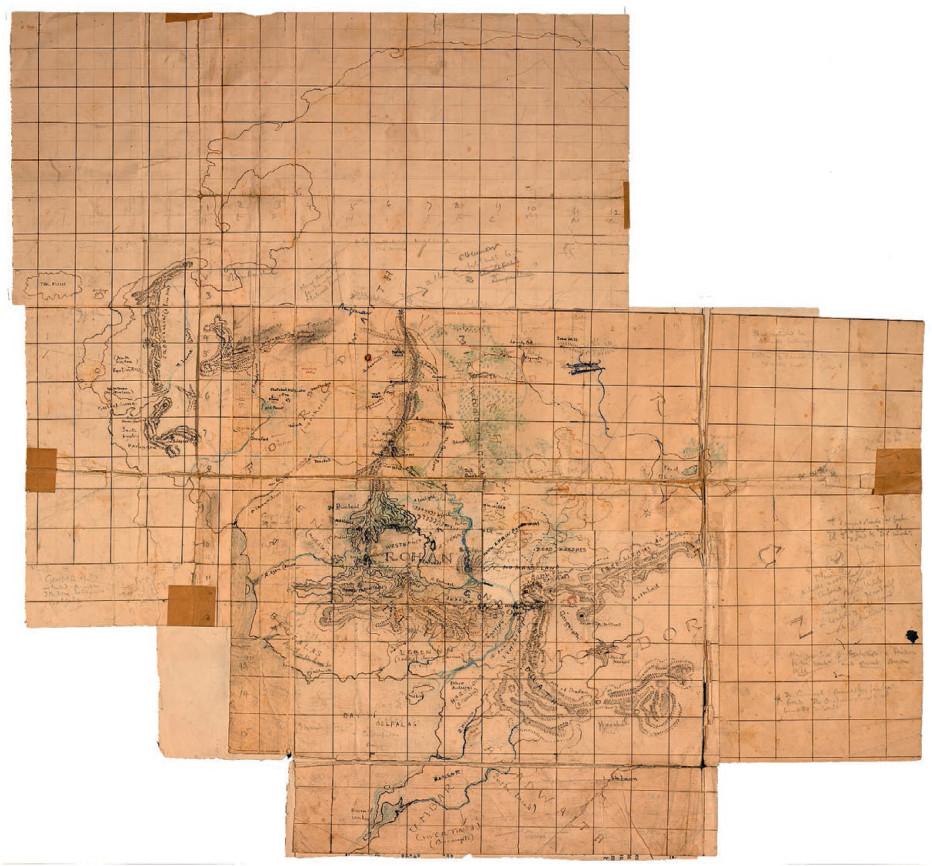 """اولین نقشه سرزمین میانی، مهم ترین مرجع تالکین. پسرش کریستوفر تالکین آن را """"عجیب، حیرت آور و به شدت پیچیده"""" میخواند و به گفته او لایههای برگهها و تصحیحات در پاسخ به جریان داستان است"""