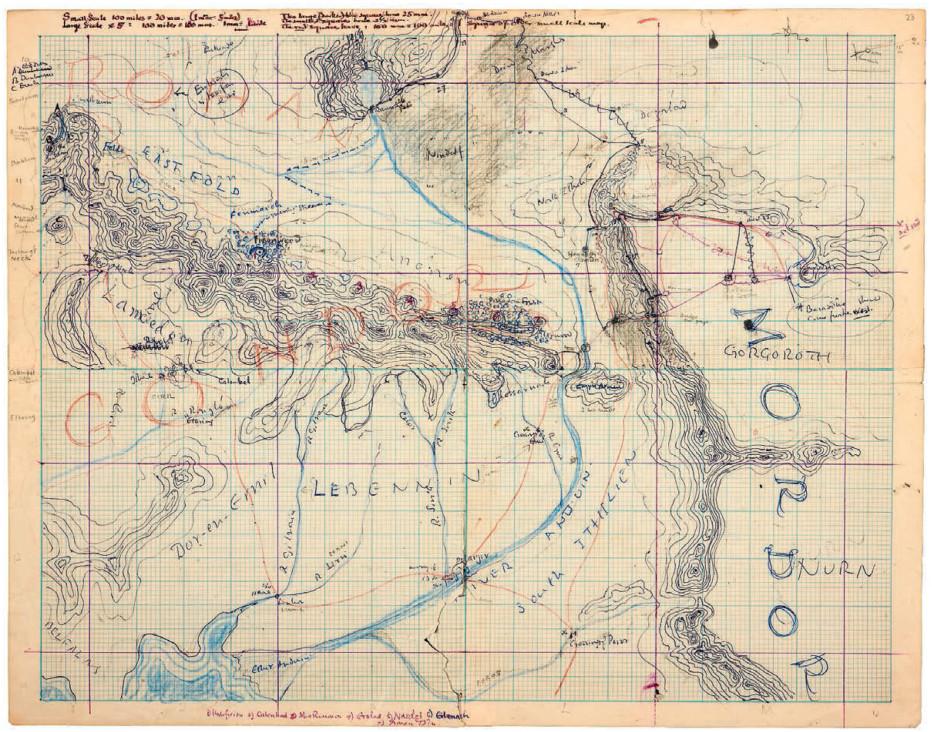 نقشه روهان، گوندور و موردور که تالکین از آن استفاده کرد تا محل دقیق سم و فرودو را در راه رسیدن به مونت دووم مشخص کند تا ورود آنها با داستان بقیه شخصیتهای یاران حلقه هماهنگ باشد