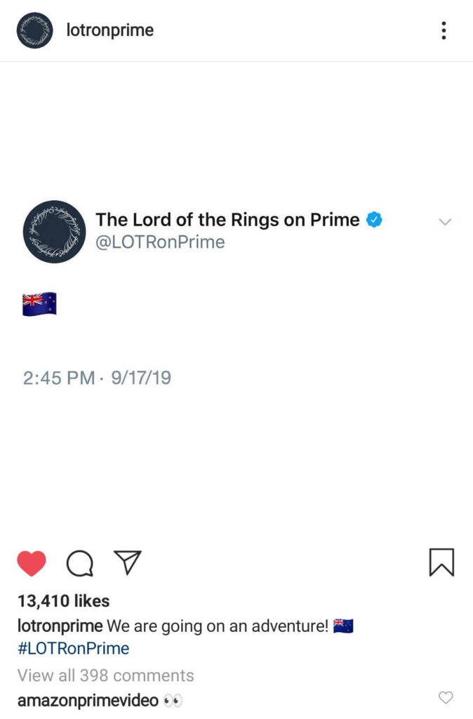 LOTRonPrime Instagram New Zealand