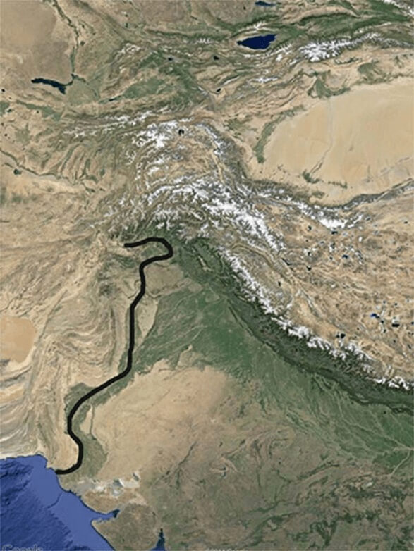indus river on google maps annotated
