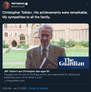 واکنش توییتری نیل گیمن به مرگ کریستوفر تالکین