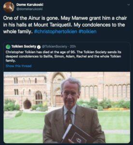 واکنش توییتری دومه کاروکوسکی به مرگ کریستوفر تالکین