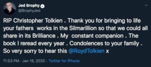 واکنش توییتری جد بروفی به مرگ کریستوفر تالکین
