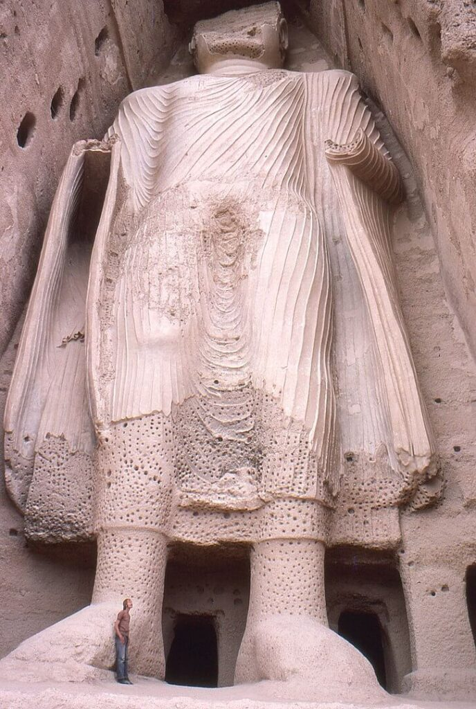 Smaller Bamyan Buddha from base, Afghanistan