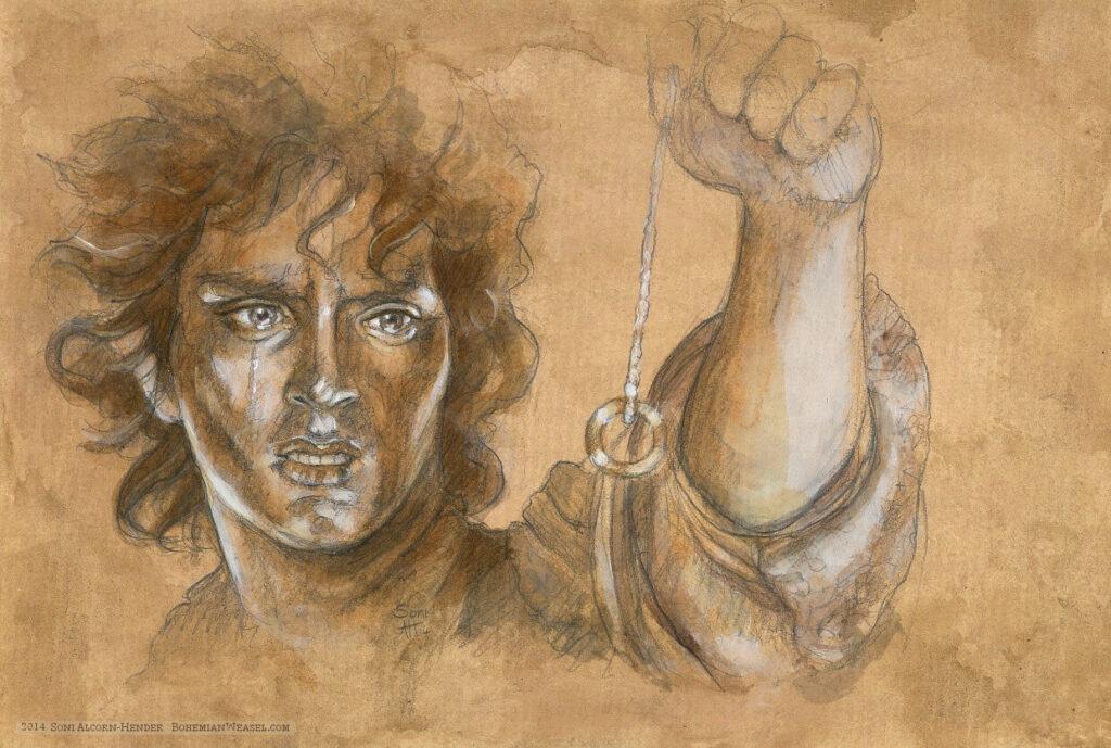 Frodo at Mount Doom by Soni Alcorn-Hender