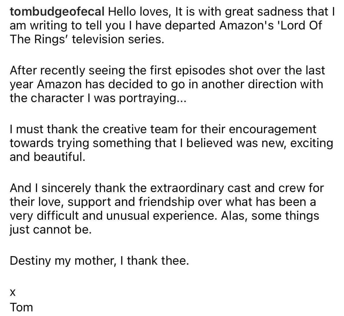 کنارهگیری تام باج از بازی در سریال ارباب حلقهها