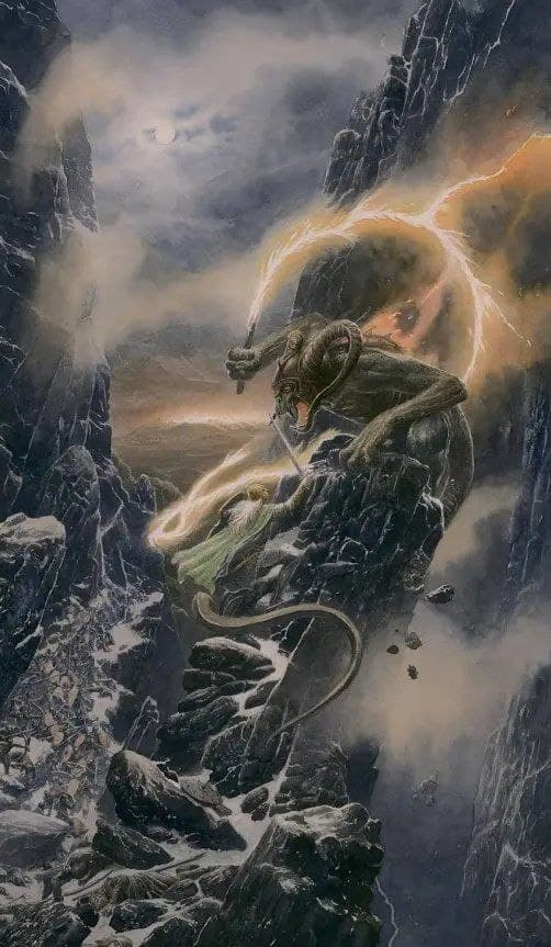 Glorfidel and the Balrog by Alan Lee