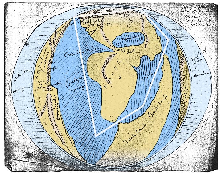 Arda Map in Second Age Drwan by J. R. R. Tolkien