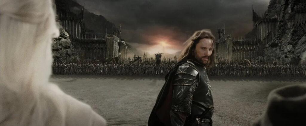 آراگورن در جلوی دروازه سیاه موردور